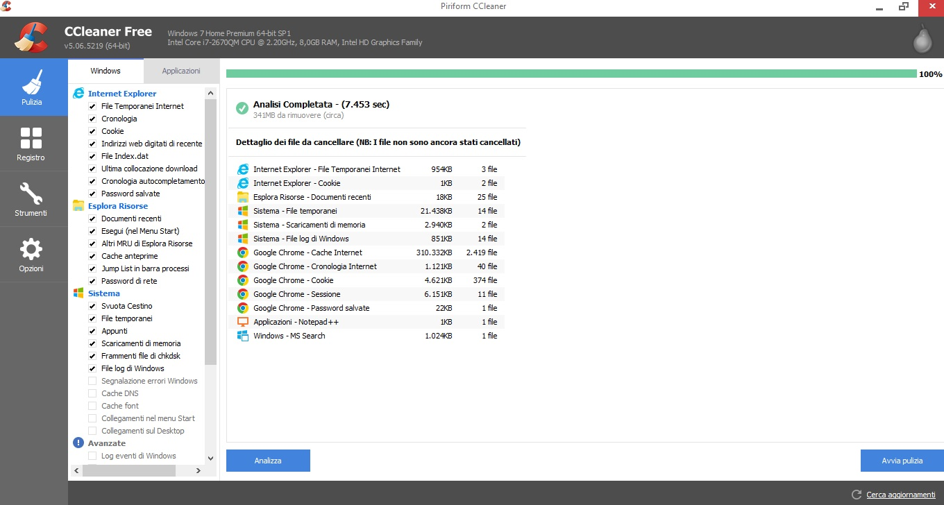 analisi ccleaner